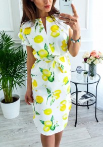 Yellow Lemon Floral Print Drawstring Irregular V-neck Casual Summer Midi Dress