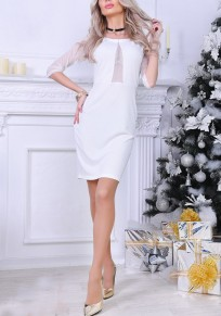 White Patchwork Round Neck Elbow Sleeve Fashion Midi Dress