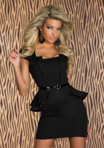 Mini abito cintura collo quadrato manica corta moda nero