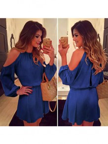 Navy Blue Cut Out Studded Round Neck Casual Mini Dress