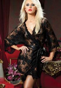 Black Floral Lace Sashes Grenadine Fashion Mini Dress