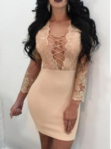 Golden Patchwork Floral Embroidery Grenadine Lace-up Deep V-neck Bodycon Party Mini Dress