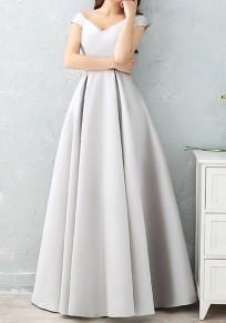 Maxi dress v-collo A pieghe con pieghe maniche corte grigio