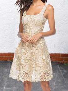 Apricot Embroidery Lace Pleated Shoulder-Straps Tutu Homecoming Party Sweet Cute Midi Dress