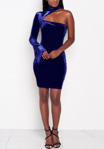 Blue Cut Out Off Shoulder Zipper Bodycon Plus Size Long Sleeve Mini Dress