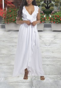 White Irregular Ruffle Slit High-Low Plus Size Banquet Elegant Party Beach Wedding Maxi Dress