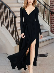 Black Draped Sashes Slit Flowy Lace-up Deep V-neck Elegant Vegas Party Maxi Dress