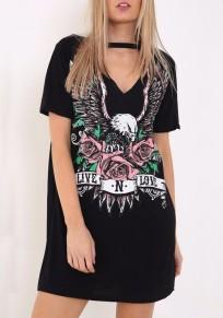 Mini vestido live N love slogan águila patrón gargantilla recortada camiseta casuales negro