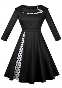 Midi-robe pois col turban plissé tutu hepburn cru party noir