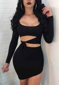 Black Cut Out Sashes Bodycon Clubwear Long Sleeve Evening Party Cute Mini Dress