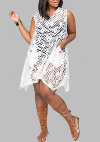 Midi-robe poches découpesss diaphane plus taille bikini cover up beach white