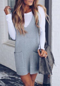 Grey Pockets Draped V-neck Fashion Acrylic Mini Dress