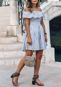 Blue-White Striped Cut Out Pleated Ruffle Backless Off Shoulder Cute Mini Dress