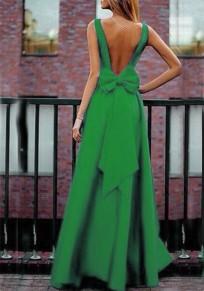 Robe longue plissé dos nu avec noeud papillon v-cou élégant de soirée verte