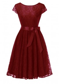 Burgundy Sashes Draped Tutu Vintage Elegant Party Midi Dress