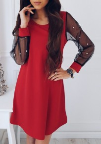 Red Patchwork Pearl Grenadine Round Neck Fashion Mini Dress