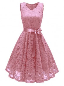 Pink Draped Lace Sashes A-Line V-neck Elegant Midi Dress