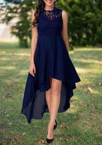 Navy Blue Lace Cut Out Swallowtail High-low Elegant Party Maxi Dress