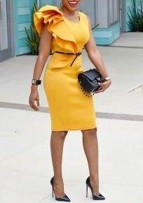 Midi-robe manches volantéesirrégulière sans manches bodycon élégante banquet party jaune