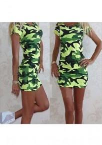 Armee grün Tarnung Drucken Bodycon Ttrendy lässig Minikleid
