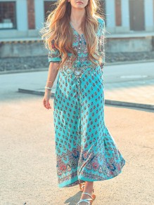 Light Blue Floral Print V-neck Elbow Sleeve Bohemian Maxi Dress