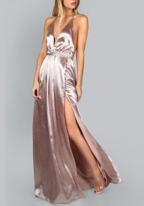 Rose Gold Slit Spaghetti Strap Lace-up Deep V-neck Flowy Elegant Party Maxi Dress
