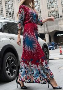 Maxi vestito floreale petto moda con v-collo vino rosso