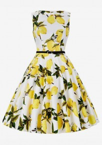 Yellow Lemon Print Draped A-Line Hepburn Party Midi Dress