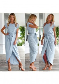Light Blue Belt Round Neck Short Sleeve Fashion Midi Dress