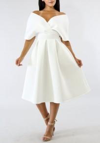 Weiß gefaltete Schulterfrei Rückenfrei hoch taillierte Bankett formale Partei Kirche Midi Kleid