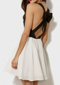White Cut Out Bow Draped Backless V-neck Sweet Party Mini Dress