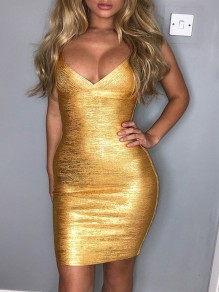 Golden Shoulder-Strap Bodycon V-neck Clubwear Party Mini Dress