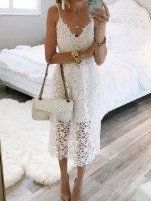 White Patchwork Lace Spaghetti Strap V-neck Pleated Sweet Elegant Party Midi Dress