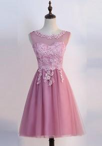 Vestido A media pierna encaje adina drapeado mullida fiesta de dama de honor de tul hinchado rosa
