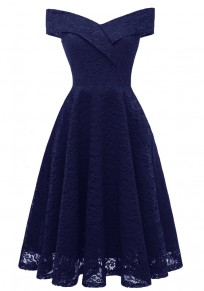 Navy Blue Draped Lace Off Shoulder Backless V-neck Banquet Elegant Party Midi Dress