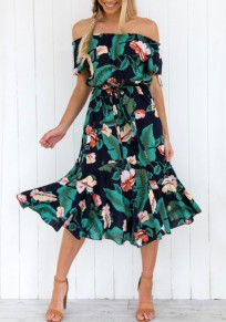 Green Floral Print Draped High Waisted Off Shoulder Backless Flowy Bohemian Midi Dress