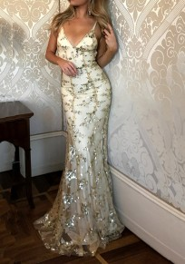 Apricot Patchwork Grenadine Sequin Tie Back V-neck Spaghetti Straps backless Mermaid Elegant Party Prom Maxi Dress