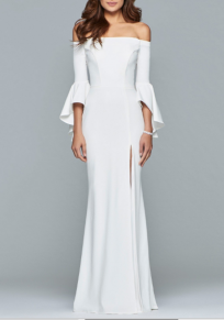 White Ruffle Side Slit Off Shoulder Backless Banquet Elegant Party Maxi Dress