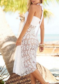 White Floral Lace Cut Out Tie Back Halter Neck Backless Beach Cover up Midi Dress