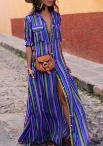 Blue Striped Single Breasted Pockets Turndown Collar Going out Blouse Maxi Dress