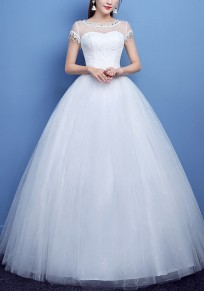 White Grenadine Lace Pleated Sequin Tutu For Wedding Gowns Elegant Party Maxi Dress