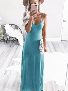 Light Blue Condole Belt Round Neck Fashion Maxi Dress