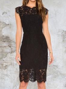 Vestido A media pierna cremallera de encaje floral cuello redondo fiesta elegante negro