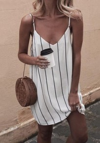 White-Black Striped Print Spaghetti Strap Backless V-neck Sweet Casual Mini Dress