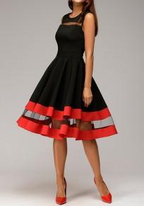 Midi-robe patineuse plissé avec tulle sans manches élégant noir et rouge