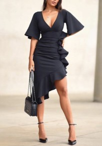 Navy Blue Irregular Ruffle High-low Half Sleeve Deep V-neck Elegant Party Midi Dress