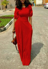 Red Draped Pockets Ruffle Bodycon High Waisted Elegant Party Maxi Dress