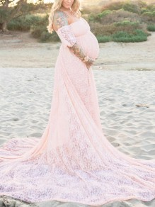 Pink Ruffle Lace Draped Off Shoulder Maternity For Babyshower Elegant Party Maxi Dress