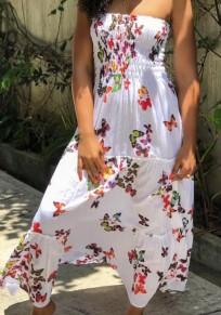 Vestido largo drapeado con estampado de mariposa en el hombro bohemio en varios sentidos rojo blanco