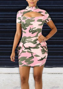 Pink-Green Camouflage Print Cut Out Irregular Pockets Bodycon Camo Casual Party Mini Dress